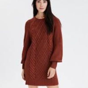 American Eagle Acid Wash Cable Knit Sweater Dress